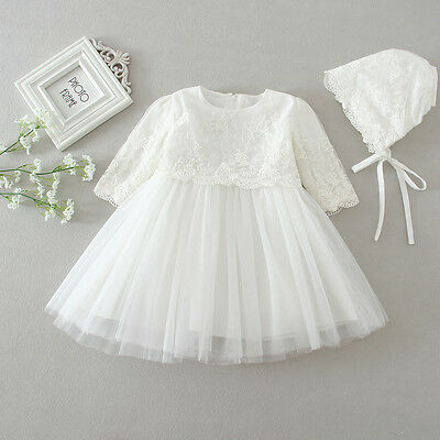 Floral Lace Embroidery Dress New Born Baby Christening Gown Ivory Baptism Dress