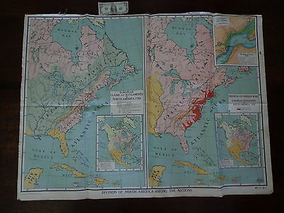 VINTAGE Large A. J. NYSTROM Educational School Wall Map NORTH AMERICA 3' by 4'