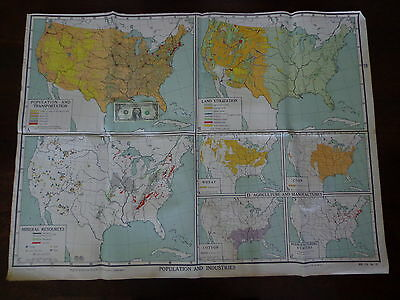 VINTAGE Large NYSTROM Educational School Wall Map POPULATION INDUSTRIES 3' by 4'