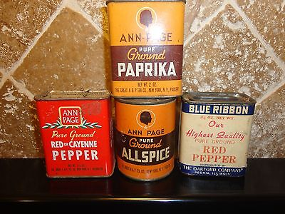 4 Vintage Spice/Seasoning containers. 2 metal tins, 2 paper label over cardboard