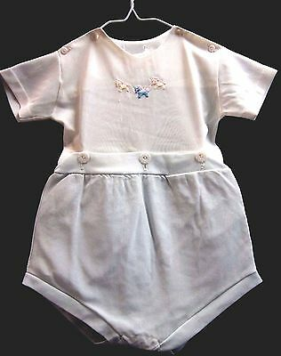 vintage 1950's 2 piece boys romper white & blue with rubber liner size 3 months