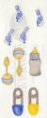 Creative Memories Studio Sticker - BABY NAPPY PINS, RATTLES, BOTTLE, FOOTPRINTS