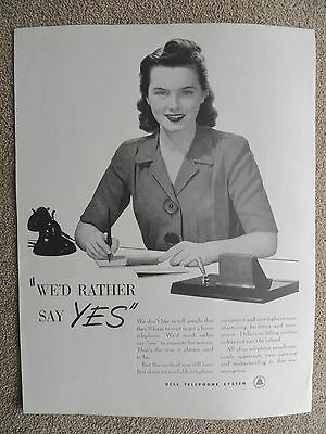 Rare Bell Telephone System AT&T WW II  Service Emergency Photo Ad 1944