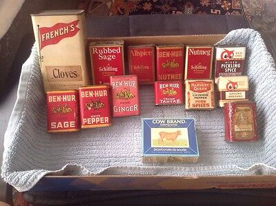 Vintage spice herb tin and box lot of 14