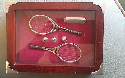 shadow box miniature 925 silver tennis equipment wooden with silver corners