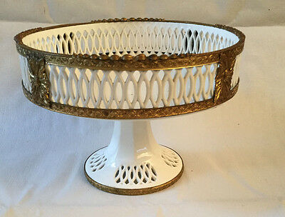Beautiful Vintage Porcelain Bowl on Raised Stand in White w/ Metal Border Detail