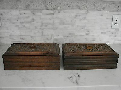 Antique Pair of Carved Wooden Storage Book Boxes