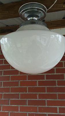 Vintage Milk Glass School House Ceiling Light/Antique Schoolhouse Light Fixture