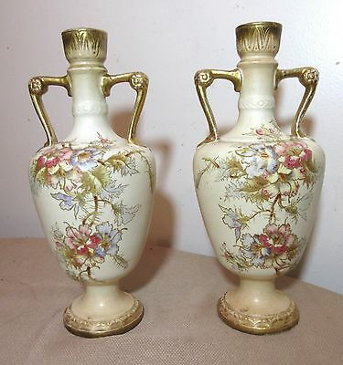 pair of 2 antique hand painted Royal Bonn German floral gilt porcelain vases
