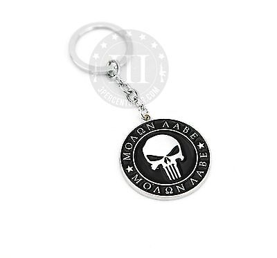 "1 NEW BLACK /& CHROME METAL /""MOLON LABE/"" SPARTAN HELMET LOGO KEY CHAIN"