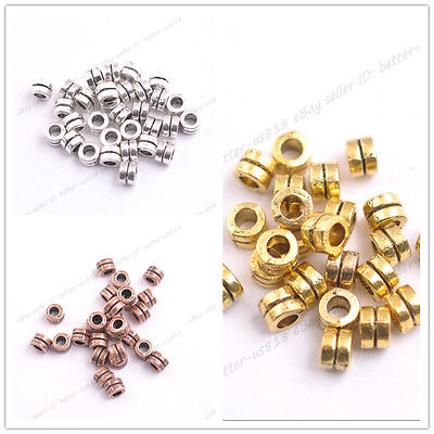 50Pcs, 100Pcs Tibetan Silver Charms Spacer Beads Jewelry Findings 4.5x5MM A3140