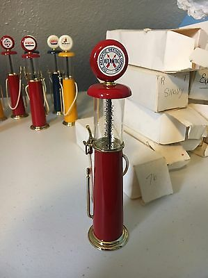 Vintage Atlantic Red Diecast and Glass Miniature Gas Pump Replica 7 1/2""