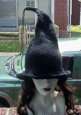 Hand Knit Black Witches Hat Made to Order Unisex Adult Halloween