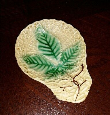 Majolica BUTTER PAT Antique Hemp Marijuana Cannabis leaf & basketwave  pattern