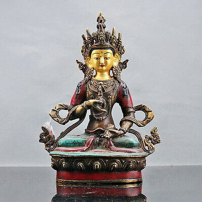 Chinese Collectable Brass Inlaid Turquoise Hand Carved Bodhisattva Statue