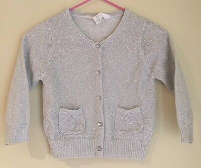 Baby Girl Silver Sparkly Cardigan 3-6 Months Size 00 VGUC