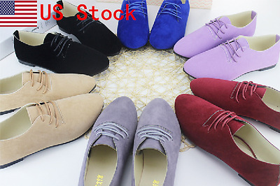 US Women New Fashion Suede Leather Flat Lace Up Pointed Toe Oxford Shoes 8 Color