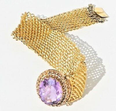 Antique French 18K Gold & Amethyst Mesh Chain Mail Bracelet Victorian Edwardian