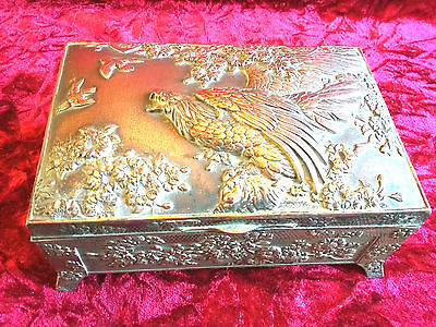 Vintage Antique Repousse Silver Plated Copper Trinket Jewellery Box