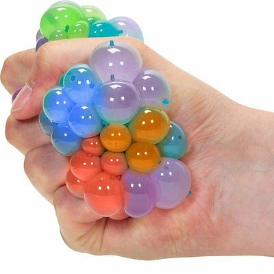 Squishy Rainbow Mesh Ball Sensory Toy - Fiddle Fidget Stress Sensory Autism ADHD