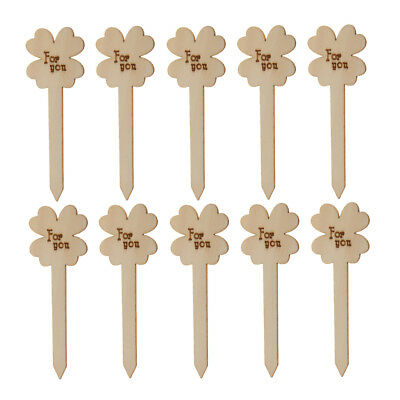10pcs Unfinished Wooden Stick Cake Topper Rustic Wedding Party Decoration