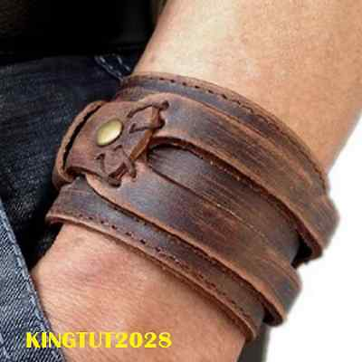 Bracciale In Pelle Polsino Pelle Johnny Deep Mens Leather Cuff Bracelet Pulsera