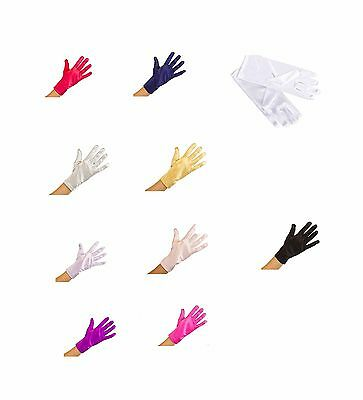 Plain Wrist Length Short Satin Full Fingers Stretch Smooth Shiny Satin Gloves 9""
