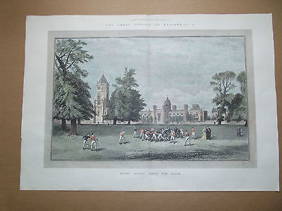 RUGBY SCHOOL FROM THE CLOSE-RARE LARGE PRINT DATED1891-HAND COLOURED-40cm x58cm