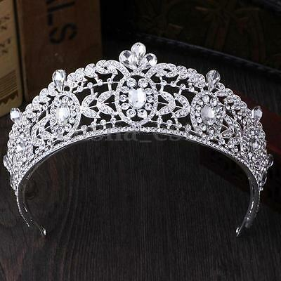 Silver Wedding Bridal Crystal Rhinestone Headband Queen Crown Tiara Prom Jewelry