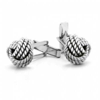 Solid Knot Sided Woven Rope Braid Twist Shirt Cufflinks Sterling Silver
