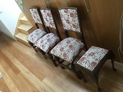 Vintage Antique Chairs x 3 & Piano Stool