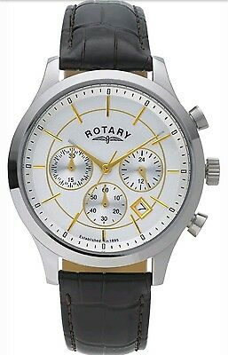 Rotary Men's Chronograph Swiss Brown Leather Strap Watch - GS03631. New In Box
