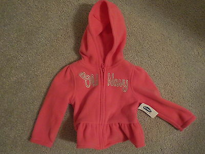Old Navy Girls Pink Fleece Hooded Jacket 12-18 Months NWT