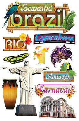 Paper House Brazil Rio  Travel Vacation Dimensional 3D Scrapbook Stickers