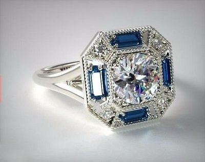 2.50Ct Off white moissanite & Blue Wedding engagement ring 925 sterling silver