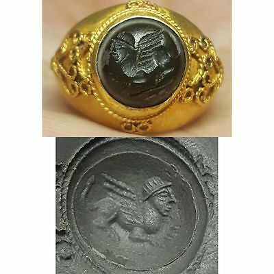Rare Old Roman  Solid Gold Garnet intaglio Stone reduced from £1200