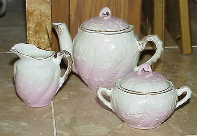 vintage pink gold white Child's Tea Service set RS Prussia ? Germany ? unmarked