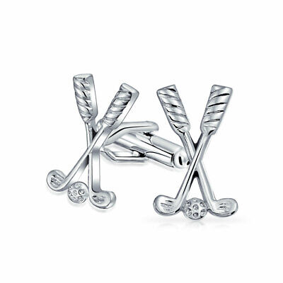 Bling Jewelry Crossed Golf Clubs and Ball Mens Sports Cufflinks Rhodium Plated