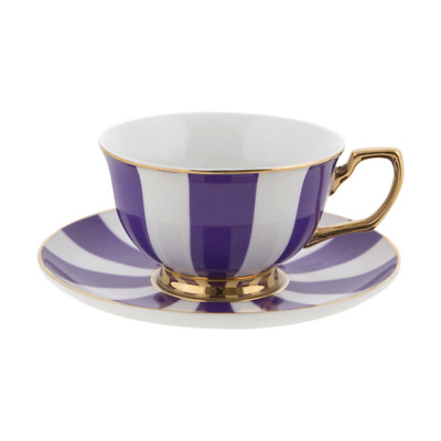 Cristina Re Teacup Stripes Grape and Ivory Fine Porcelain
