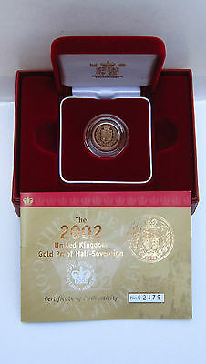 Royal Mint Boxed 2002 Uk Gold Proof Half Sovereign C.o.a Mint