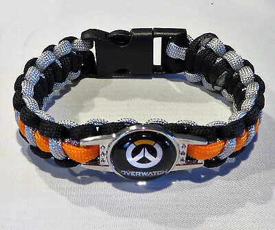 "OVERWATCH LOGO POWERCORD 9"" ORANGE & BLACK SNAP ENCLOSURE UNISEX Bracelet"