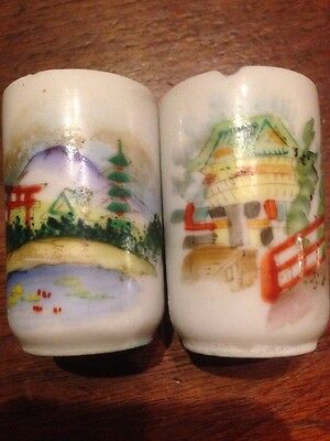 2 Saki Cups Japanese Hand Painted