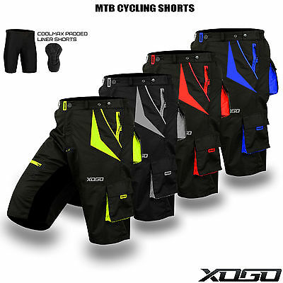 MTB Cycling Short Off Road Bicycle With CoolMax Padded Liner Shorts S to XXL