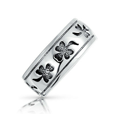 Bling Jewelry Unisex 925 Silver Antique Style Black Clover Shamrock Band Ring