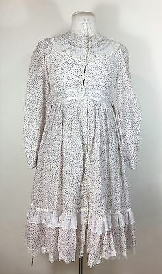 Vintage Gunne Sax Pink Floral Dress Prairie Rose Print Ruffle Lace Girls Size 12