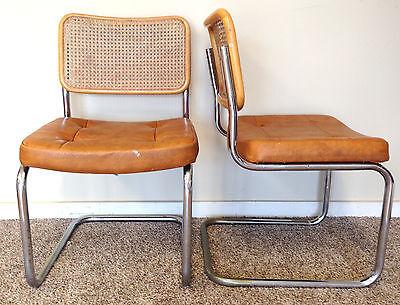 Chromcraft Vintage Cane Wicker Chairs Set of 2 Chrome Bamboo Mid Century Modern