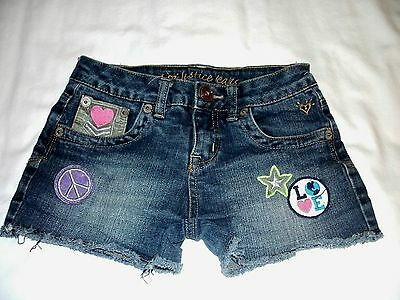 Justice Simply Low Peace Love Patched Blue Jean Shorts Girls Size 10R Stretch