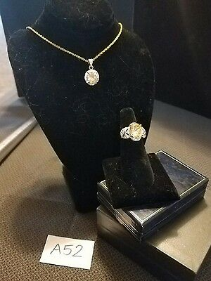A52- 2Pc Sterling 925 Citrine Ring & 14K Gp Necklace Jewelry Lot