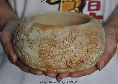 Rare Chinese Old Jade pure Hand-Carved 4 Dragon Lucky Statue Pot Bowl jar Crock