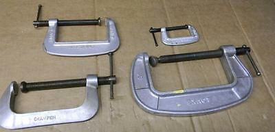 "Vintage 4Pc Aluminum C Clamps 2"", 4"", 5"" & 6"""